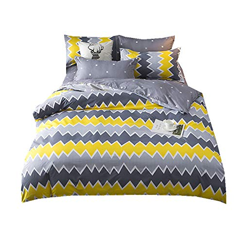 Sticker superb Kind Kleinkind Baby Bettdecken Sets mit Reißverschluss, Bettbezug und Kopfkissenbezug, Vier Jahreszeiten Blau/Grün/Gelb/Rosa Bettwäsche (Mode 3, 220x240cm) - Gelb King-set Bettbezug