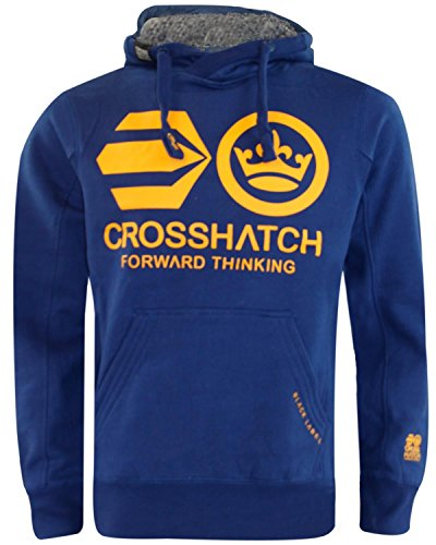 Crosshatch -  Felpa con cappuccio  - Uomo Blankout-Estate Blue