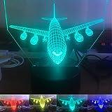 3d airbus - flugzeug nachtlicht illusion lampe 7 farbe ändern, führte an usb - tabelle geschenk kinder spielzeug dekor und weihnachten zum valentinstag - geschenk