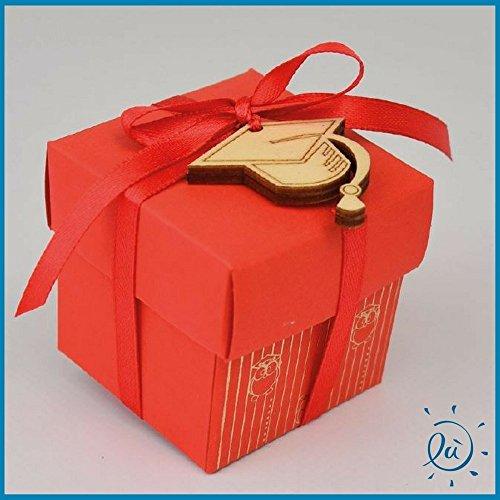 6 pezzi scatolina portaconfetti rossa in cartone con gufo e tocco+confetti crispo inclusi   bomboniere e confettate originali ed economiche