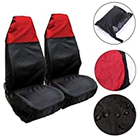 KING DO WAY 2x Universal Water Resistant Front Car Van Seat Protector Covers Black & Red 50 x 54cm