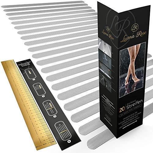 Luana Rose 20x Antirutschstreifen für Dusche & Badewanne - Transparent & Selbstklebend - Anti Rutsch Streifen Aufkleber für Treppenstufen - 100% rutschfeste Klebestreifen - Rutschschutz Treppe