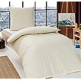 Renforcé 'EXKLUSIV' Baumwolle Bettwäsche 135 cm x 200 cm Uni Einfarbig , Farbe:NATUR / BEIGE