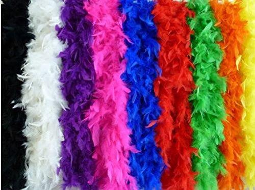 Federboa einfarbig, Federdichten wählbar, Länge ca. 1,80m, Federstola Federschal Kostüm Karneval 20er Jahre Charleston Burlesque kuschelig (Gelb)