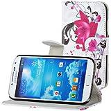 Samsung Galaxy S4 i9500 Buchdesigner Tasche mit trendigen Style Cheery Flower Cover Leder Tasche Flip Case Schutz Hülle Handy Seiten Tasche im Neuem Desgin
