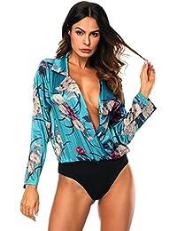 ISASSY Femmes Sexy Manches Longues Body Blouse avec imprimé Floral Tuxedo  Soie Satin Blot Blouse 2f55499fd68