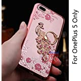 KC Bling Beautiful Peacock Rhinestone Finger Ring One Plus 5 Case 360 Degrees Back Cover for OnePlus 5 - Rose Gold + Pink