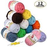 Ovillos de Lana 12x50g Ratel 100% Acrílicos Skeins perfecto para cualquier proyecto de ganchillo y punto (12 Colores)