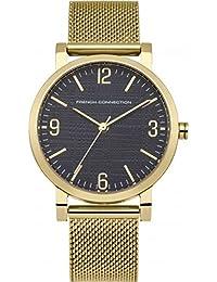 French Connection Mujer Reloj De Cuarzo Con Esfera Analógica Azul Pantalla y oro pulsera de acero inoxidable fc1249ugm