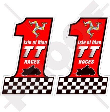 ISLE of MAN Île de Man TT Courses Numéro 1 MANX Moto GP, 75mm Vinyle Autocollants, x2 Stickers