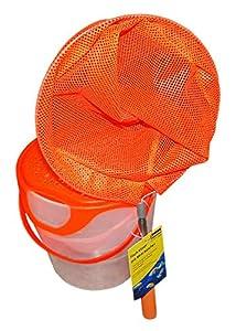Idena 40082-Cubo de Pesca con asa, telescópica, Color Naranja