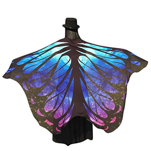 meng Schmetterling Flügel Schals Schal Chiffon Mehrfarbig Wrap Mädchen Cosplay Kostüm Zubehör für Party oder Show (197*125CM, Blau) (Halloween-kostüme-clearance Kinder)