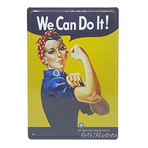 Rosie The Riveter We Can Do It., Retro geprägt Metall blechschild, Wand Deko Schild, 20cm x 30cm (Steelers Italienisch)