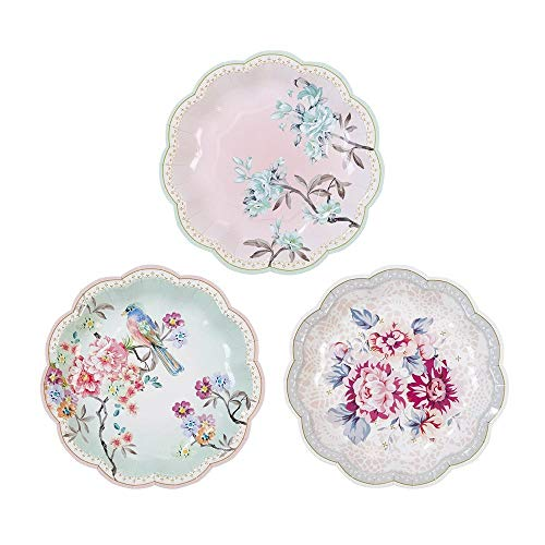 Talking Tables Truly Romantic; Kleine Pappteller mit Blumenmotiv in elegantem Vintage-Stil für Geburtstage, Hochzeiten, Teekränzchen und Partys, 18 cm (12 pro Pack in 3 Designs)