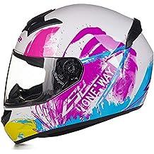 MATEROP Casco de Motocicleta de Rostro Completo Hombre Mujer Racing Moto Cascos Hecho FF352 XL