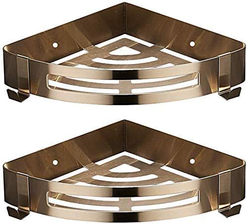 Duschregale Lagerhalter Gold Shower Caddy 304 Edelstahl Bad Wandregal Kein Bohren Installieren Lagerung Dreieck Körbe Hängen Veranstalter Halter Platzsparende Eckregal (Größe: 2 Tier) -