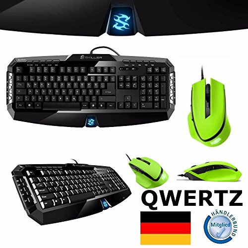 Gaming Maus + Tastatur Desktop Deskset Kabel verkabelt Keyboard Mouse Set Pc Computer Spiele Zocker Spiele Gamer Game Qwertz deutsche Deutsch grün (Taste Zucken)