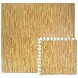 Eyepower Puzzlematten in Holz-Optik Laminat-Muster 4 Matten ca. 60x60cm mit 8 Abschlussleisten erweiterbare Steckmatten Schutzmatte Unterlegmatte Bodenmatte Deko Matte Hellbraun