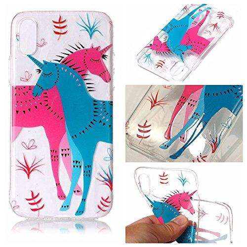 iPhone X Custodia, SportFun Slim Flexible TPU Silicone Custodia Protettiva Caso iPhone X Case (Kranich) Pferd