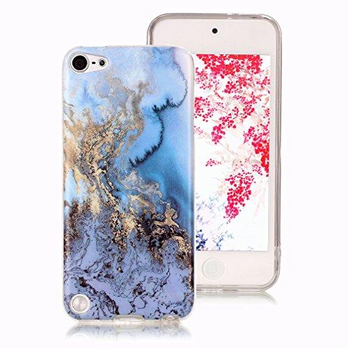 Cover marmo per ipod touch 5, iphone ipod touch 6 case, ronger custodia gel tpu silicone marble case cover ultra sottile flessibile con modello di pietra, mare blu