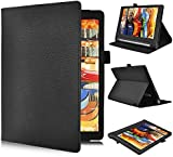 Lenovo YOGA Tab 3 10.1-Inch Flip Case - IVSO Slim Folio Book Case Cover for Lenovo YOGA Tab 3 10.1-Inch Tablet - with Card Holder, Hand Strap (Black)