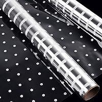 Faburo - Rollo de papel de celofán con lunares blancos, 3 m x 40 cm, color blanco