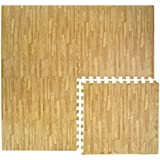Alfombra Puzle eyepower de espuma EVA | Estera Rompecabeza de gomaespuma | 4 piezas 60x60cm + 8 marcos | ilimitadamente extensible | blando ideal para caminar descalzo jugar tenderse yoga judo decor | Color de la madera marrón claro