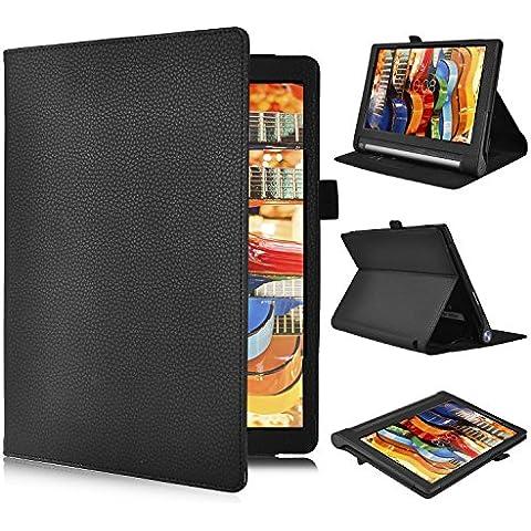 Lenovo YOGA Tab 3 Pro 10.1-Inch Funda Cover - IVSO Slim-Book Case Funda Protectora de Cuero PU para Lenovo YOGA Tab 3 Pro 10.1-Inch Tablet (Negro)