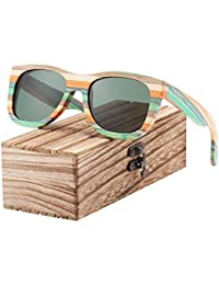 HHCUIJ Conducción polarizada, gafas de sol, correr Gradient Women Sunglasses Bamboo Polarized Sun Glasses for Men Mirror Square Eyewear UV400