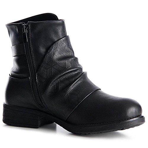 topschuhe24 1030 Damen Boots Halbstiefel Booties Stiefeletten Schwarz