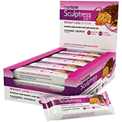Maxitone Sculptress Diet High Protein Meal Bars, Caramel Crunch, 60 g, Box of 12