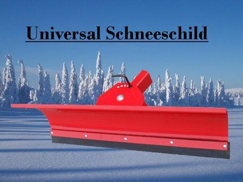 Universal Schneeschild / Hochwertig rot pulverbeschichtet / Breite: 100 cm - Höhe 40cm / Für Einachser Rasentraktor Quad Atv