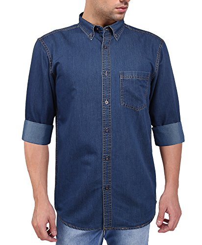 Flags-Mens-Casual-Denim-Shirt-Dark-Blue