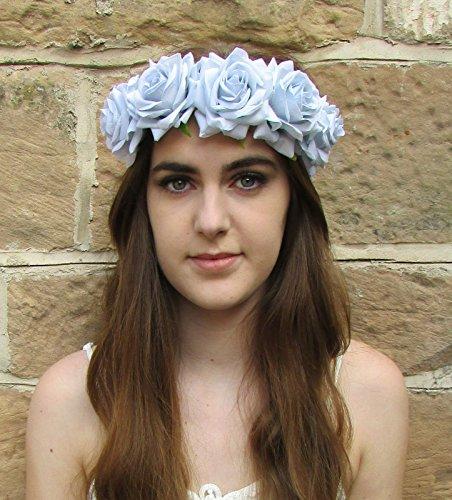 Grand Gris clair Bleu Rose cheveux fleur couronne Guirlande Boho Bandeau festival z95 * * * * * * * * exclusivement vendu par – Beauté * * * * * * * *