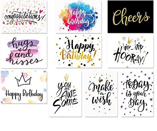 20 Typographie-Postkarten-Set, 10 Motive mit jeweils 2 Karten, moderne Geburtstagskarten, Spruchkarten, Sprüche-Postkarten (Geburtstag)