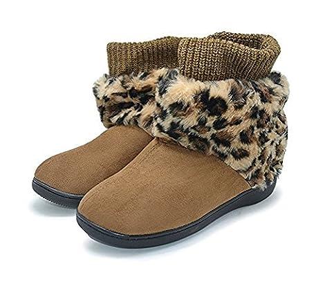 Polliwoo Bottes De Neige Femme Boots Léopard Laine Antidérapage Hiver Bottines de cheville