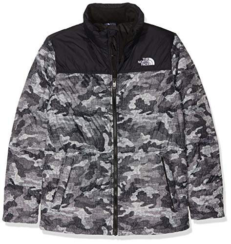 THE NORTH FACE Unisex-Kinder Youth Insulated Down Top Jacket, Mehrfarbig (TNF Blk Textured Camo PRT.), XL