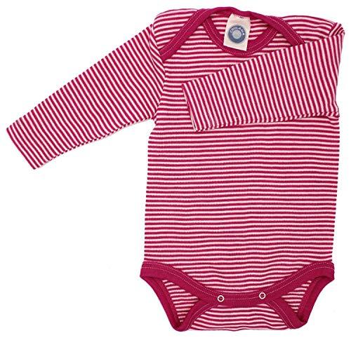 Cosilana Baby-Body, Wollbody, Größe 98/104, Farbe Pep-Pink geringelt, 70% Wolle und 30% Seide kbT