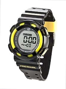 Freegun - EE7015 - Montre Mixte - Quartz Digital - Cadran Jaune - Bracelet Plastique Noir