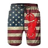 J,Corner Mens Motorcycle American USA Flag Summer Cool Swim Trunks Beach Shorts Cargo Shorts