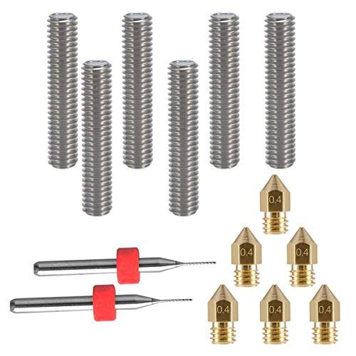 eaone 6pcs 30 mm Longitud extrusor 1,75 mm tubo y 6pcs Boquilla Extr