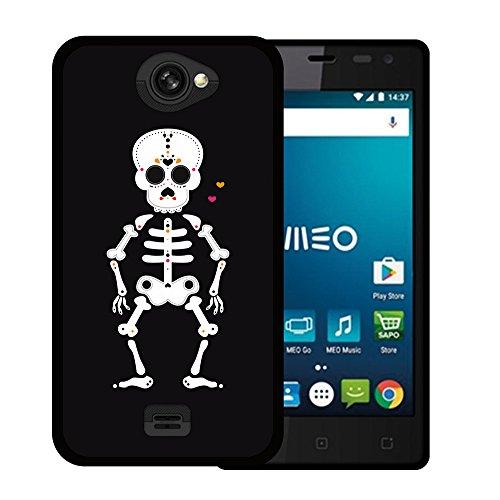 WoowCase MEO Smart A25 Hülle, Handyhülle Silikon für [ MEO Smart A25 ] Halloween Mexikanischer Schädel, Skelett und Herzen Handytasche Handy Cover Case Schutzhülle Flexible TPU - Schwarz