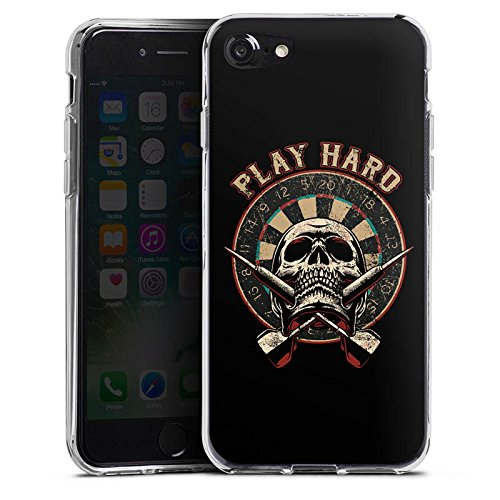 Apple iPhone X Silikon Hülle Case Schutzhülle Dart Totenkopf Play Hard Silikon Case transparent