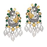 Jaipur Mart Oxidised Gold & Silver Plated Green Brass Earrings Jewellery Gift For Her, Girl, Women, Mother, Sister, Girlfriend, Party & Daily Wear