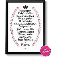 BESTE FREUNDIN = MAMA Geschenkideen Muttertag Geburtstag, persönliches Muttertagsgeschenk Geburtstagsgeschenk Frauen mit Rahmen in A4