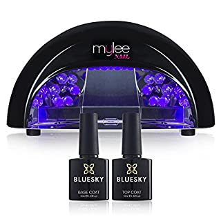 Mylee Black LED 5-Finger 12 Watt Dome Lamp Includes Bluesky Gel Polish Gel Nail Polish Top and Base Coat, Free. For Gel Nail Perfection Every Time
