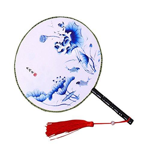 Kostüm Fisch Muster - Da.Wa 1 Stück Chinesische Klassischer Frauen Handfächer Lotus und Fisch Muster Hand Fan mit Quaste für Hochzeit Dekoration anzabend Party Kostüm Maske Karnevals, Blau