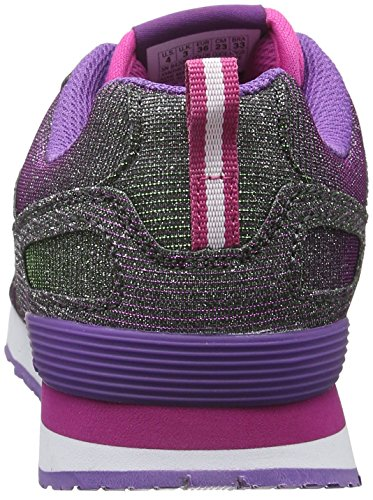 Skechers RetrospectShinetime, Baskets Basses Fille Violet (Prgr Violet/Vert)