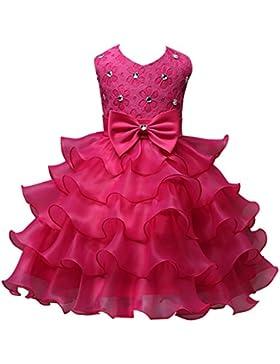 [Patrocinado]Fantast Costumes Vestido de niñas con lazo vestido de princesa como niña de flores con velo y perlas para boda