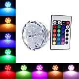 FFNW RGB Submersible LED Lights Colour Battery Powered with Remote Control for Vase, Aquarium, Fish Tank, Swimming Pools, Wedding, Event, Garden